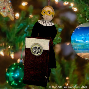 Felt RBG with Podium-Handmade Christmas Ornament, hanging from brightly decorated Christmas tree