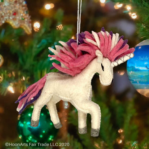 Handmade Felted Christmas Ornament - Unicorn