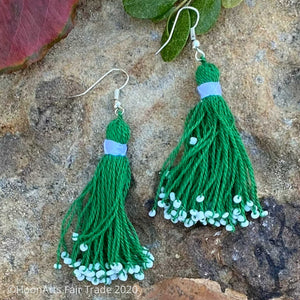 Handmade Beaded Tassel Earrings from Tajikistan
