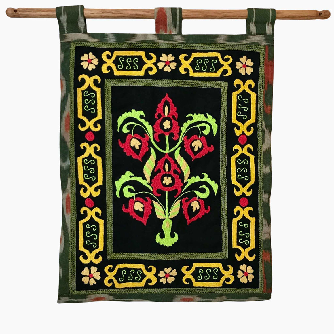 Hand Embroidered Suzani Wall Hanging Green on Black from Tajikistan | HoonArts