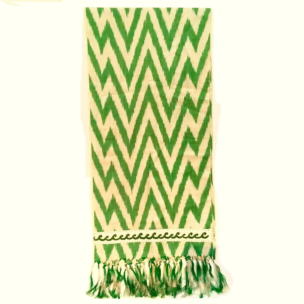 Ikat Silk Scarf with Hand-Embroidery, Green & Cream - HoonArts - 1