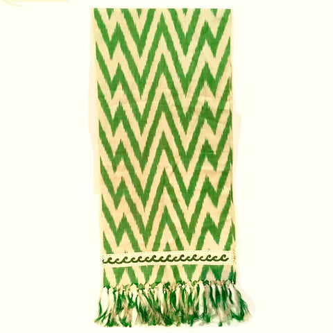 Ikat Silk Scarf with Hand-Embroidery, Green & Cream