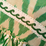 Ikat Silk Scarf with Hand-Embroidery, Green & Cream - HoonArts - 3