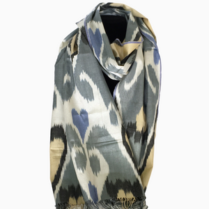 Uzbek Ikat Scarf-Cotton/Silk Blend--Grey, White, Blue, Black & Beige