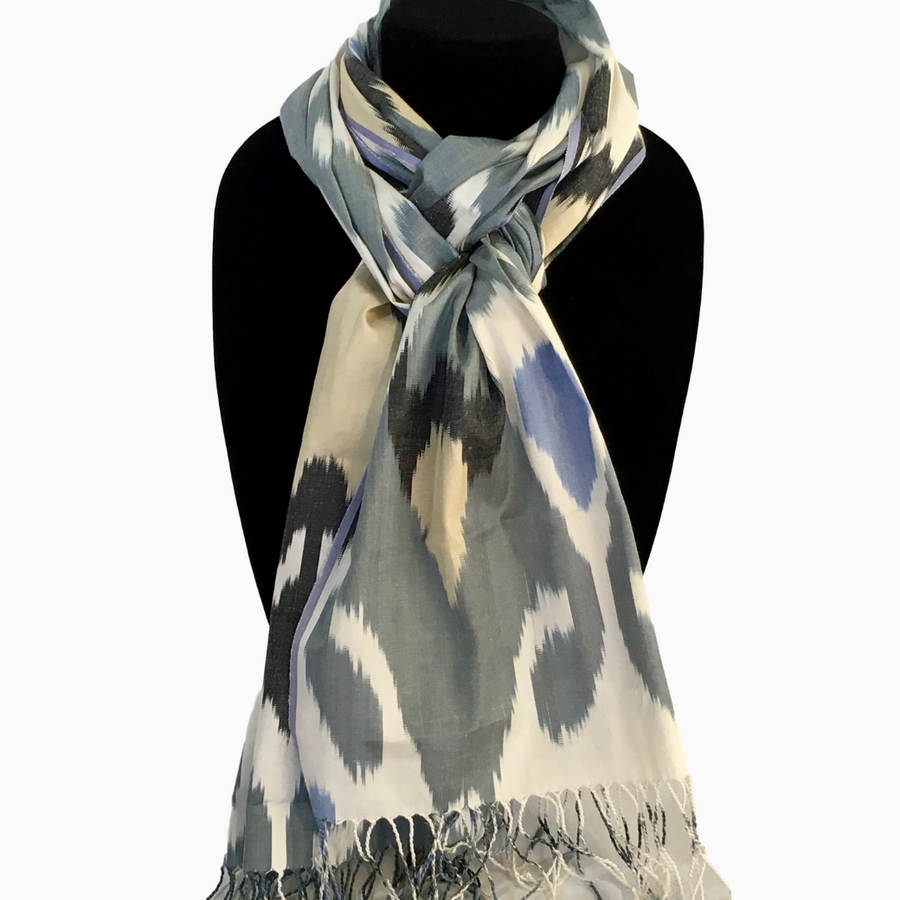 Uzbek Ikat Scarf-Blue Hearts on Grey, White, Black & Beige