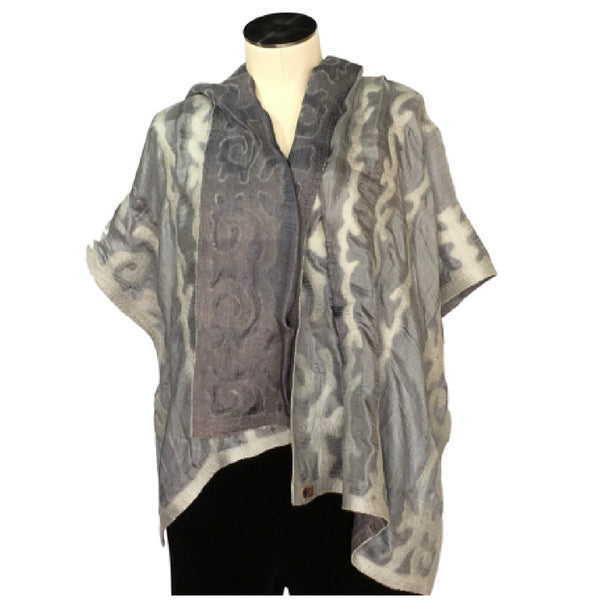 Silk and Felted Scarf/Shawl, Double-Sided, Dark Grey on Grey