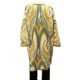 "Long Silk/Cotton Ikat Jacket (""Chapon"" Style)-Grey & Gold"
