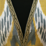 Hand-woven braid on grey, gold & white ikat