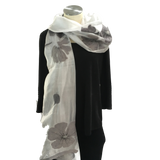 Silk and Felted Scarf, Grey Flowers on White