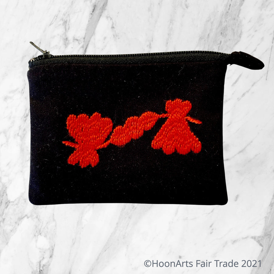 Hand-Embroidered Flower Coin Purse in Red or White- made in Tajikistan