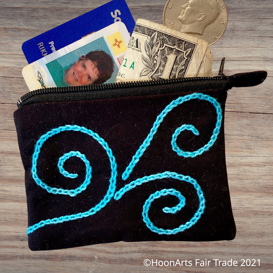 Hand-Embroidered Swirl Coin Purse - in red, white, or blue - made in Tajikistan