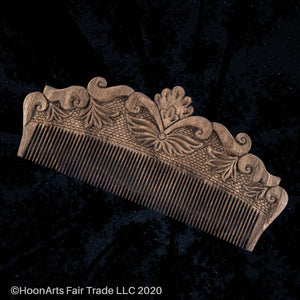Hand Carved Large Comb with Floral Decorations-Solid Walnut from Tajikistan Master | HoonArts