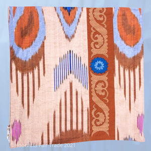 "Ikat and Suzani Embroidery Pillow Cover, ""Panjakenti"" - HoonArts - 1"