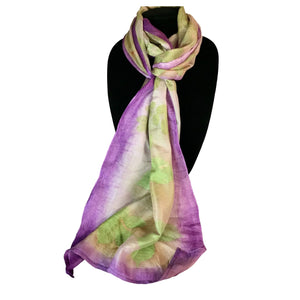 Handwoven silk scarf -Seven Sisters-eco-printed with purple accents