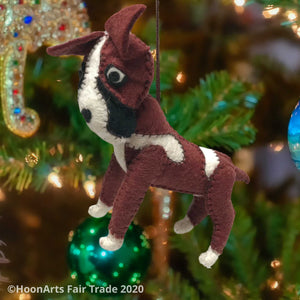 Brown & White Felt Boxer Dog-Handmade Christmas Ornament, hanging from brightly decorated Christmas tree