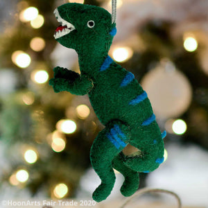 Handmade Felt Christmas Ornament-T-Rex, Green with Blue Accents