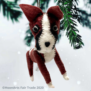 Handmade Felt Christmas Ornament-Dark brown and white Boxer dog hanging from pine branches of a Christmas tree