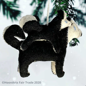 Handmade Felt Christmas Ornament-Black & White Husky Dog with Puppy Riding Mom's Back