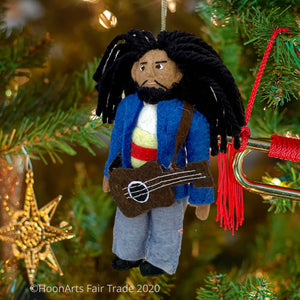 Handmade Felt Ornament of Bob Marley with Blue Jacket and Guitar  Hanging on Christmas Tree