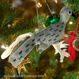 Kyrgyz Felt Christmas Ornament-Roadrunner Bird | HoonArts
