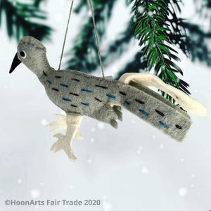 Handmade Felt Roadrunner Christmas Ornament-Grey with black beak, white feet and white tail feather