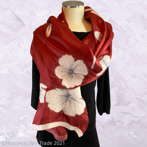 Handmade Felted Scarf from Kyrgyzstan-Alumni White Poppies on Red Silk, Short | HoonArts