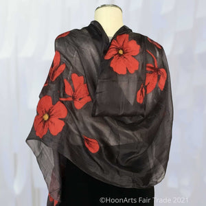 Handfelted silk scarf - red poppy on dark grey