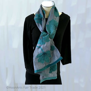 Dark teal poppies on grey silk - short scarf from Kyrgyzstan