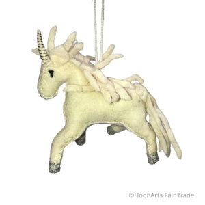 Handmade Felt Christmas Ornament-Unicorn with White Mane
