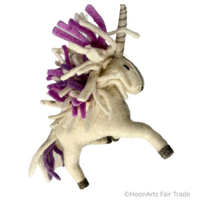 Felted Unicorn Christmas Ornament from Kyrgyzstan-Purple Mane