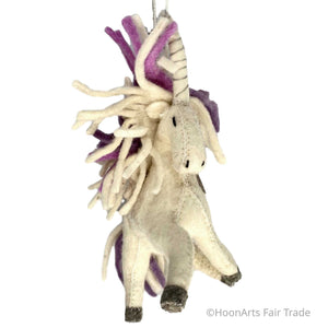 Handmade Unicorn Christmas Ornament-Purple Mane