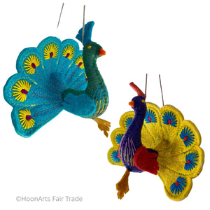 Handmade Felt Peacock Ornaments from Kyrgyzstan