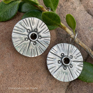 "Handmade Kyrgyz Silver Earrings-Medium Size Round Sunburst-""Nazgul"""