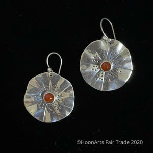 Handmade Silver Earrings from Kyrgyzstan-Flower with Carnelian-Gulya