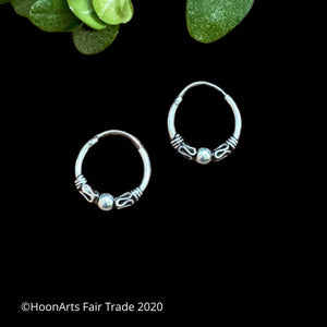 "Small Sterling Silver Hoop Earrings from Krygyzstan-""Aitolkun"""
