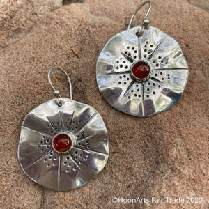 Handmade Sterling Silver Earrings-Flowers with Carnelian-Gulya