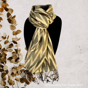Handwoven Silk Ikat Scarf from Uzbekistan- Tea washed Gold and Grey Zig-Zag
