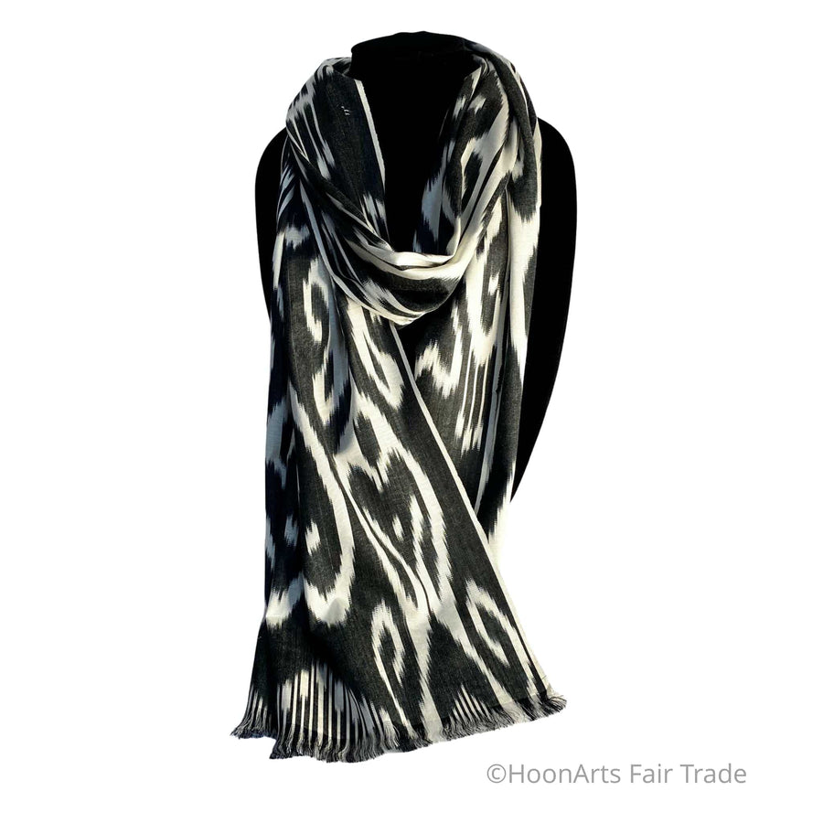Uzbek Handwoven Silk Ikat Scarf-Black & White tribal