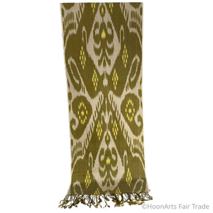 Uzbek Handwoven Silk Ikat Scarf-Green, Yellow, Beige