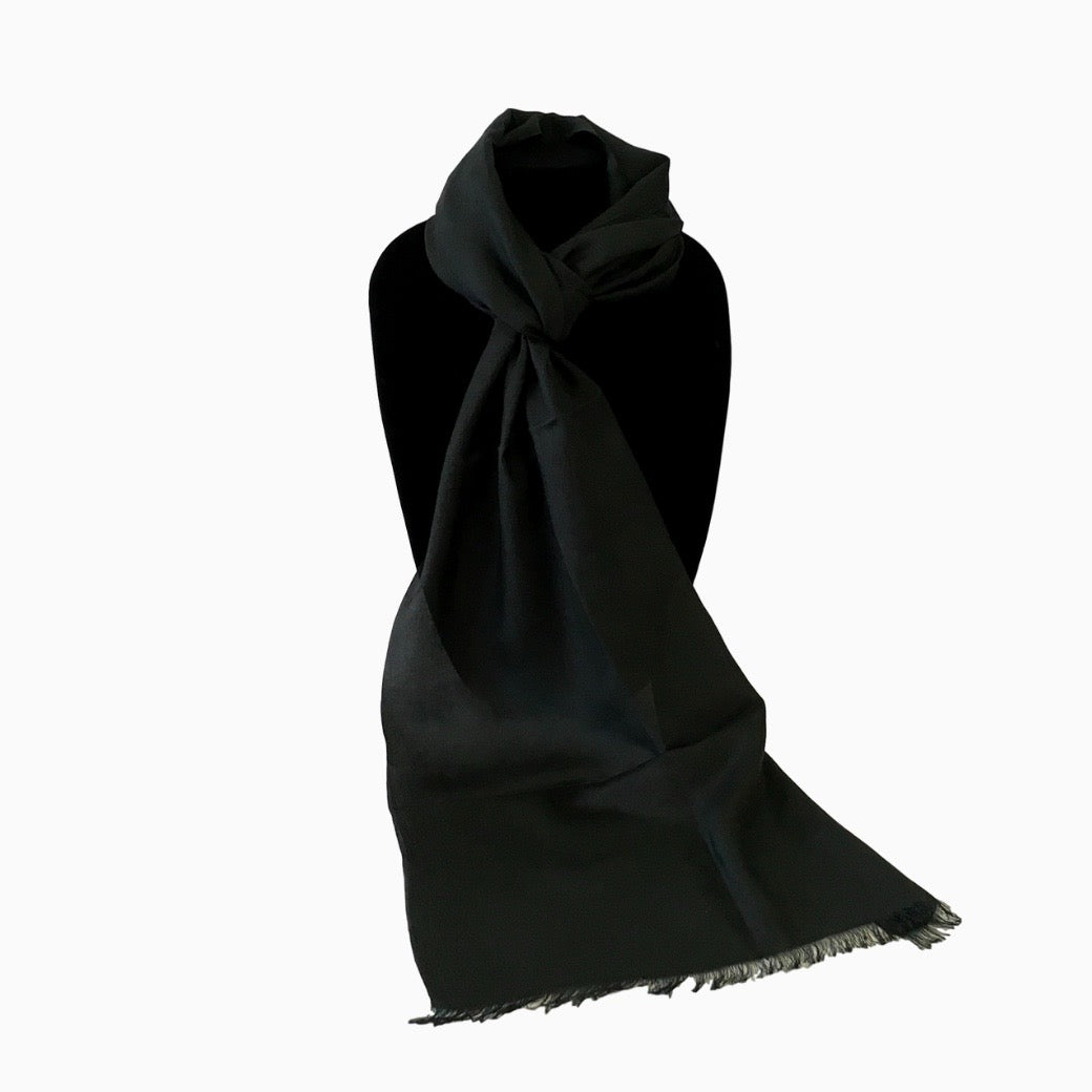 Handwoven Black Silk Scarf from Uzbekistan