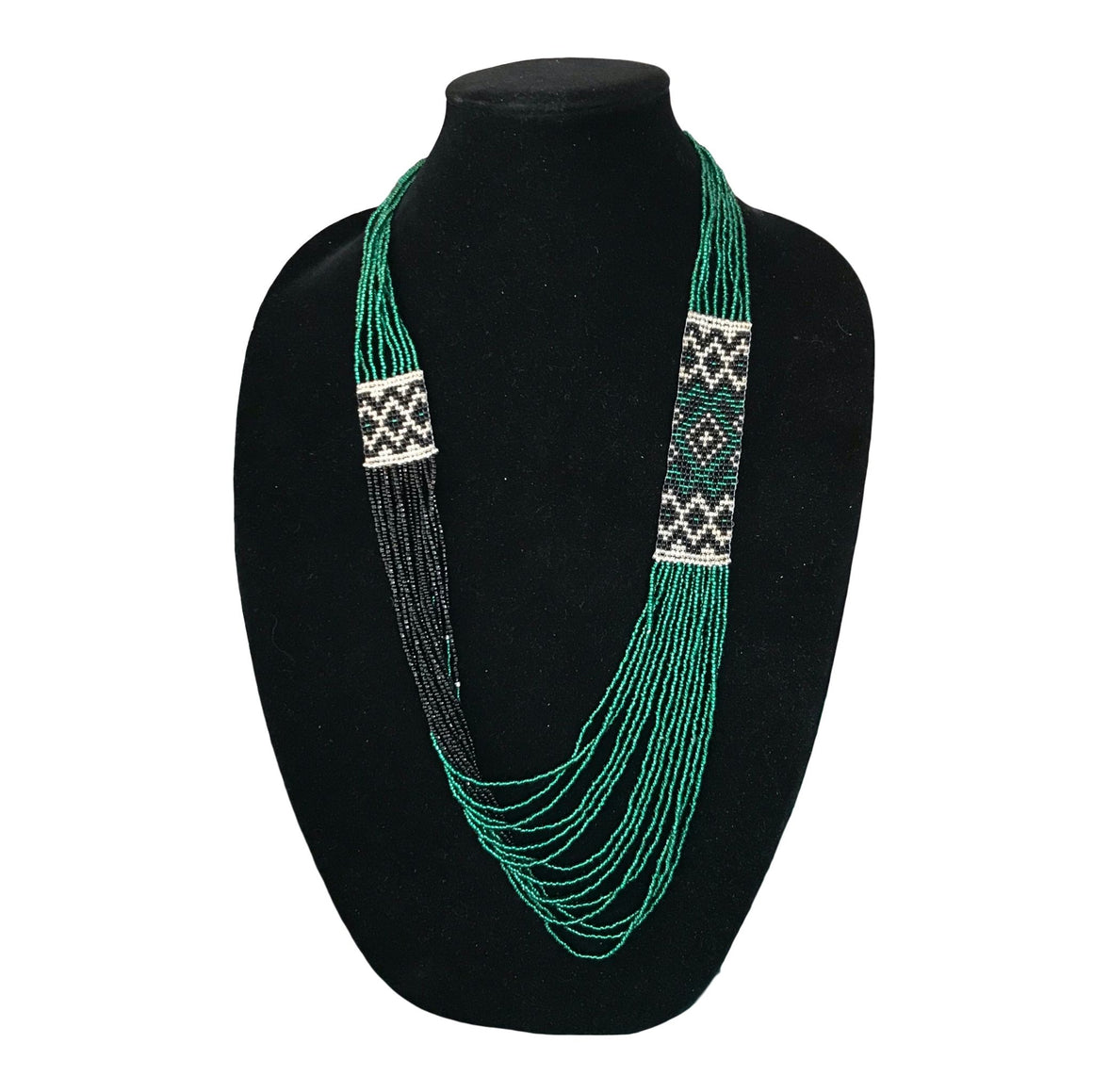 Green and Black Beaded Necklace from Tajikistan