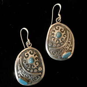 Sterling Silver and Turquoise Earrings from Seven Sisters