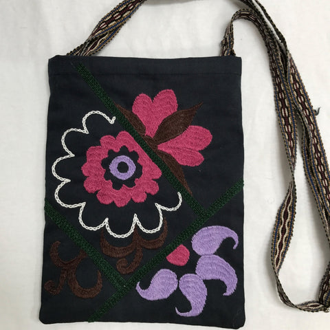 Hand-Embroidered Shoulder Bag-Purple on Black