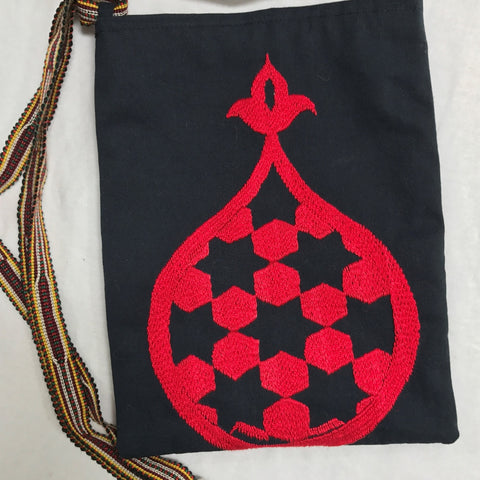 Hand-Embroidered Shoulder Bag-Red on Black