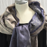 Silk and Felted Scarf/Shawl, Double-Sided, Blue & Bronze
