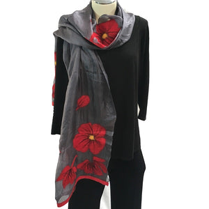 Kyrgyz Silk and Felted Scarf, Red Poppies on Dark Grey