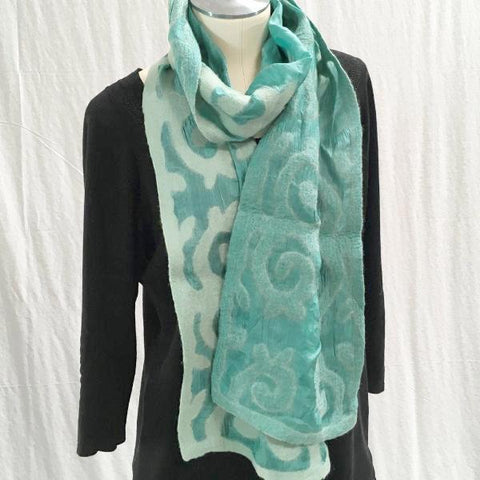 Silk and Felted Scarf, Teal