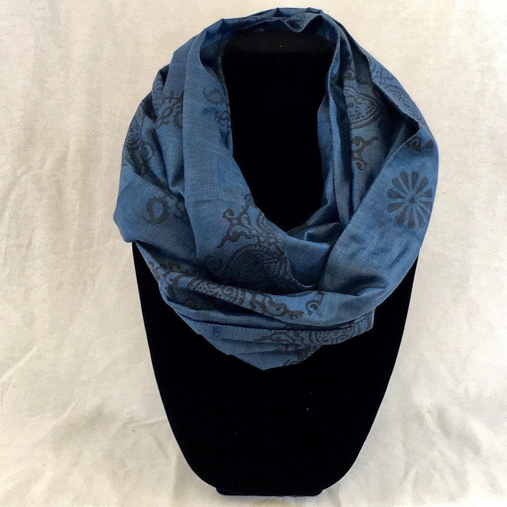 Hand-Woven Block-Printed Silk Infinity Scarf