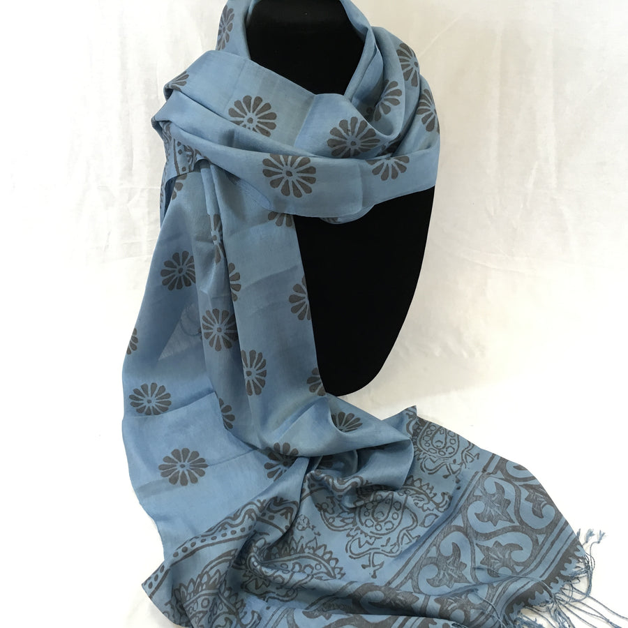 Handwoven Black Black-Printed Silk Scarf from Uzbekistan