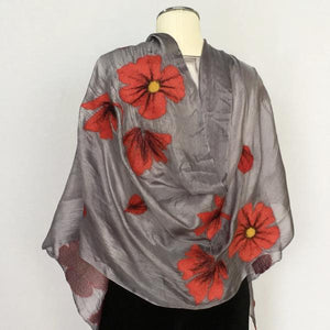 Kyrgyz Felted Silk Scarf-Red Poppies on Light Grey, Back View
